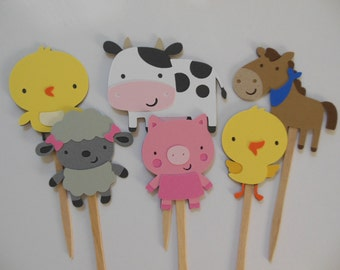 Farm Animal Cupcake Toppers - Chick, Cow, Horse, Lamb, Pig and Duckling - Birthday Party Decoration - Baby Shower Decorations - Set of 6