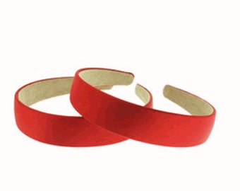 """2 pieces-25mm (1"""") Satin Covered Headband in Red"""