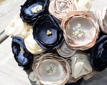Navy Bridal bouquet, Champagne and navy bouquet, Navy fabric flower wedding bouquet, keepsake bouquet, alternative bouquet, navy and cream