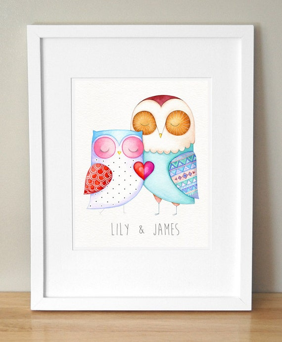 Love Birds Couple Personalized Wall Art Unique By Annyakaiart