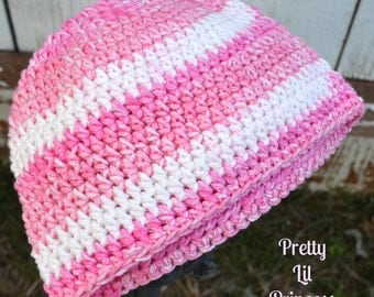 Think Pink Breast Cancer Awareness Crochet Hat