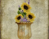 Sunflower Collage - Wall Art 8 X 8 inches - Printable - Download, print and cut