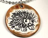 Hedgehog Sparkle Surly Necklace with Swarovski Crystals