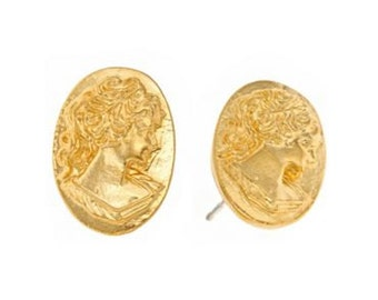 ON SALE Heirloom Studs- Gold plated cameo stud earrings. Classic, Victorian, feminine and elegant. Great for brides & Valentine's Day.