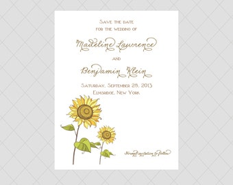 Sunflower Save the Date Cards