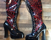 FMP Platform Boots - Pinstriped Spider's Web, Lace-up, Stretch, Woman's Size 10
