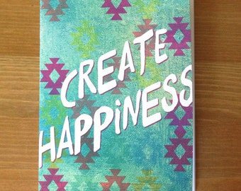 Sea Spray Create Happiness Pocket Size Notebook, modern, aztec gifts, water notebook, portable sketchbook, recycled paper