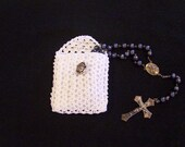 White Crochet Rosary or Jewelry Pouch
