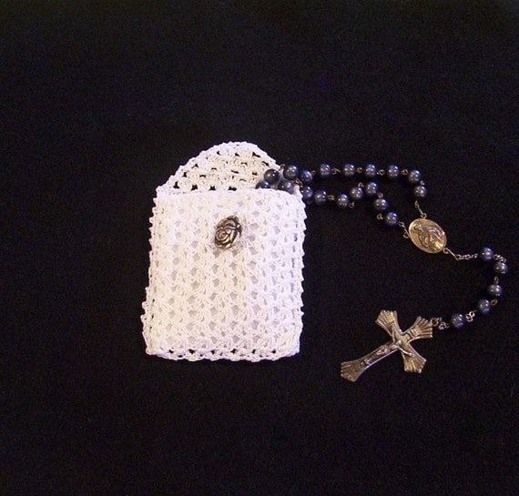 White Crochet Rosary Or Jewelry Pouch By 5luckfarm On Etsy