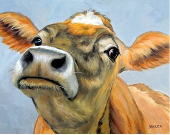 Jersey Cow Art Print, Jersey, Orange Curious Cow, Painting by Dottie Dracos,Various Sizes