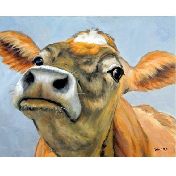 Jersey cow art print jersey orange curious cow painting by for Cow painting print
