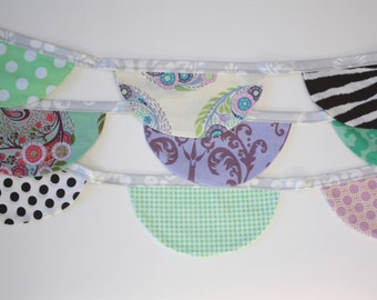 Fabric Scallop Bunting Flag Banner Prop in Lavender, Mint, Black and White. Ready to Ship Garland.  Photo Prop, Party Decoration.