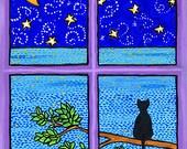 Black Cat, ocean, purple, moon stars - Print by Shelagh Duffett