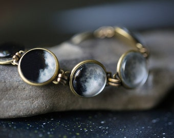 Moon Phase Bracelet - Antique Bronze or Silver - Space Galaxy Jewelry, Lunar Phases - Bridal Party, Wedding Gift, Mother's Day