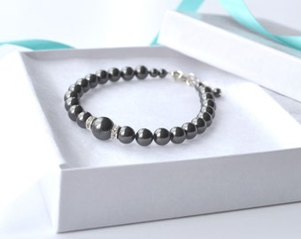 Black Pearl Bracelet, Pearl and Crystal Bracelet, Wedding Party Gift, Bridesmaid Jewelry, Black Jewelry, Simple Bracelet, Bridal Accessory
