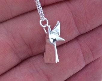 Silver Origami Fox Pendant Hand Folded Fine Silver