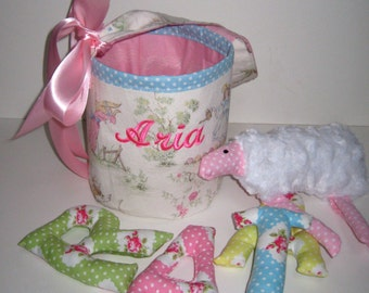 Little Lamb Bucket with Stuffed Name and Sheep in Pink