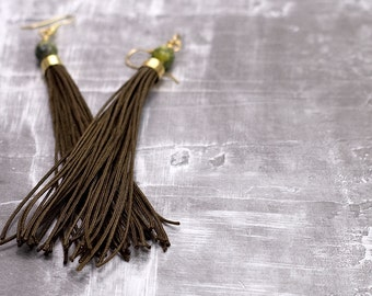 Tassel Earrings // Long // Brown // Green Magnesite Beads // Statement Earrings
