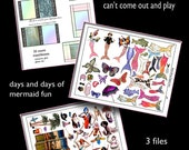 Matchbox Mermaids, create and play with mermaids, 4 collage sheets  INSTANT DOWNLOAD at Checkout
