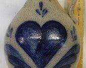 Rowe Pottery salt glazed COBALT BLUE heart  rustic primitive country farmhouse JUG