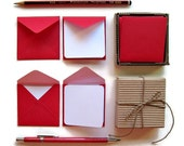 Mini Stationery Set: Red Tiny Square Envelopes and Blank Note Cards