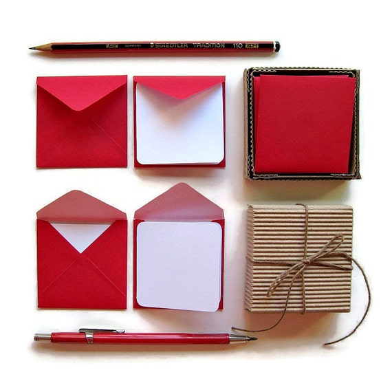 Red Envelopes Mini Stationery Set, White Blank Note Cards, Valentines Day, Handmade, Gifts Greetings Under 10, Small, Square, Christmas Tags