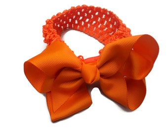 Everyday Casual HAIR BOW plus matching HEADBAND for baby newborn any age Girls - You select Color waffle interchangeable head bands pretty