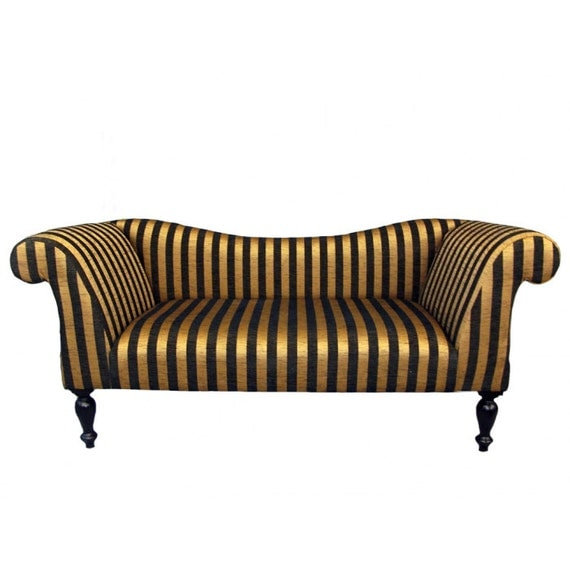 items similar to gold and black stripe chaise sofa on etsy