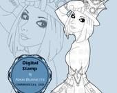 Digital Stamp - Printable Coloring Page - Fantasy Art - Steampunk Stamp - Telsa - by Nikki Burnette - COMMERCIAL USE