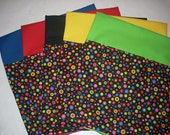 "24 CHAIR POCKETS Ready to ship Durable Cotton  small multi colored dots- 14"" top with 6 each orange, lime, red and blue  backers"