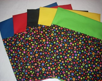 "24 CHAIR POCKETS Durable Cotton  small multi colored dots- 14"" top with 6 each orange, lime, red and blue  backers"
