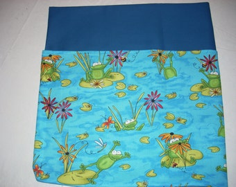 21 CHAIR POCKETS Durable Cotton frog print with multi colored  backers your choice - blue, green, orange and lime green