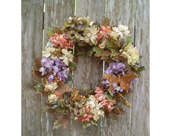 Autumn floral chrysanthemum door wreath Victorian style fall dried look floral arrangement harvest flowers Thanksgiving shabby chic home