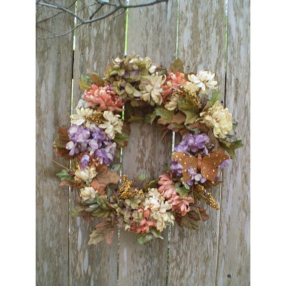 Autumn Home decor floral chrysanthemum wall hanging door wreath Victorian fall dried look