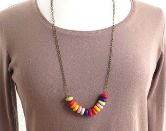Necklace rainbow beads and chain long SALE HALF PRICE