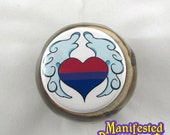 Bisexual Pride Button Winged Heart