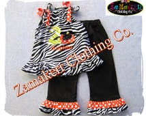 Girl Zebra Pumpkin Outfit Dress Pant Set Fall Thanksgiving Baby Turkey Clothing Halloween Gift 3 6 9 12 18 24 month size 2T 3T 4T 5T 6 7 8