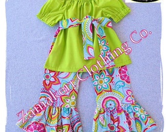 Girl Floral Outfit Set - Girl Clothing Floral Peasant Top Ruffle Pant Bottom Outfit Set 3 6 9 12 18 24 month size 2T 2 3T 3 4T 4 5T 5 6 7 8