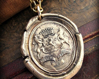 Wax Seal Medallion  - SUSTINE ET ABSTINE Armorial Seal in Bronze Latin motto Bear and Forbear