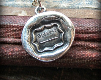 Truth Wax Seal Necklace - I write the truth - quill pen - Wax Seal Jewelry - L1135