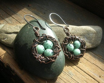 Bird nest earrings robin nest earrings Rustic Nest earrings speckled eggs copper nest earrings Mother's Day mother or grandmother