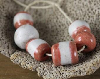Handmade stoneware ceramic beads Pink Parfait (6)