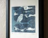 Original Intaglio Aquatint Print - Night Owl