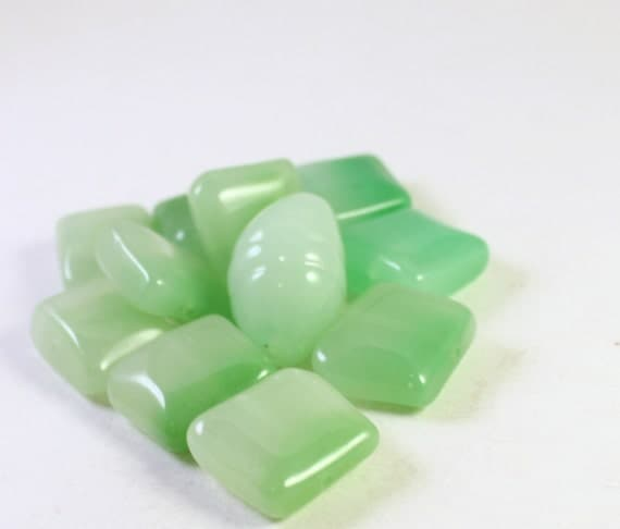 Green Ombre Acrylic Beads, Trapezoid & Oval, Mixed Shape