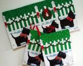 Scotty Dog Christmas Trivet & Potholders, Scottish Terrier Potholders and Trivet, Holiday Hostess Gift