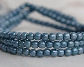 Denim Blue Czech Glass 3mm Round Druk Bead : 50 pc Blue 3mm Round