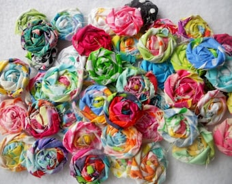 "Fabric Flowers Roses Rolled Pinwheels Bobby Pin Rosettes 1"" Scrapbook Wholesale 20"