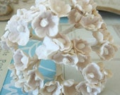 Forget Me Nots / Vintage Millinery / Aged White with White Centers / One Small Bouquet / Wedding