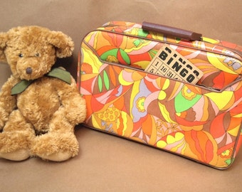 Free Shipping Suitcase Groovy Paisley Made in Japan child's laminated  Yellow, Orange, brown, pink pucci style Free Shipping