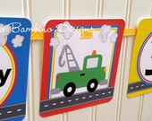Transportation Happy Birthday Banner / Cars, Trucks, Airplane, Train / On the Move Banner Personalized with Name and Age